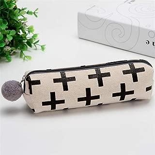 ZHUOTOP Pencil Bag Pen Case Student Stationery Pouch Zipper Bag Office Pen Organizer with Plush Ball Beige