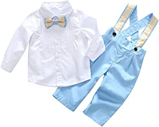 Weixinbuy Toddler Baby Boys Gentleman Suit Bow-tie Shirt + Suspender Pants Jumpsuit Outfits