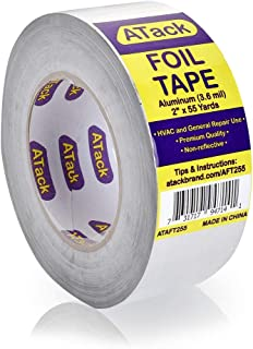 ATack Aluminum Foil Reflective Duct Tape, 3.6 mil, 2 Inches x 55 Yards High Temp and Heavy Duty Metal Aluminum HVAC Tape for Duct Work, Furnace, AC Units and metalworks