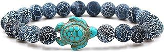 YooAi Bracciale Turchese Bracciale Tartaruga Pietra Naturale Yoga Bracciali Braccialetti Corda Elastica Regola i Braccialetti