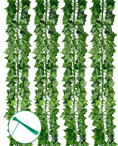 PONKING 12 Pack Artificial Ivy Leaf Plants Vine Hanging Garland 86.5 FT Artificial Ivy Garland Fake Greenery Leaf Vines Hanging Plants for Home Wedding Wall Decor
