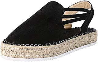 Yamall Women'S Flat Sandals European And American Style Hemp Rope Wedge Heels High Heel Wedges With Rivets Beach Shoes