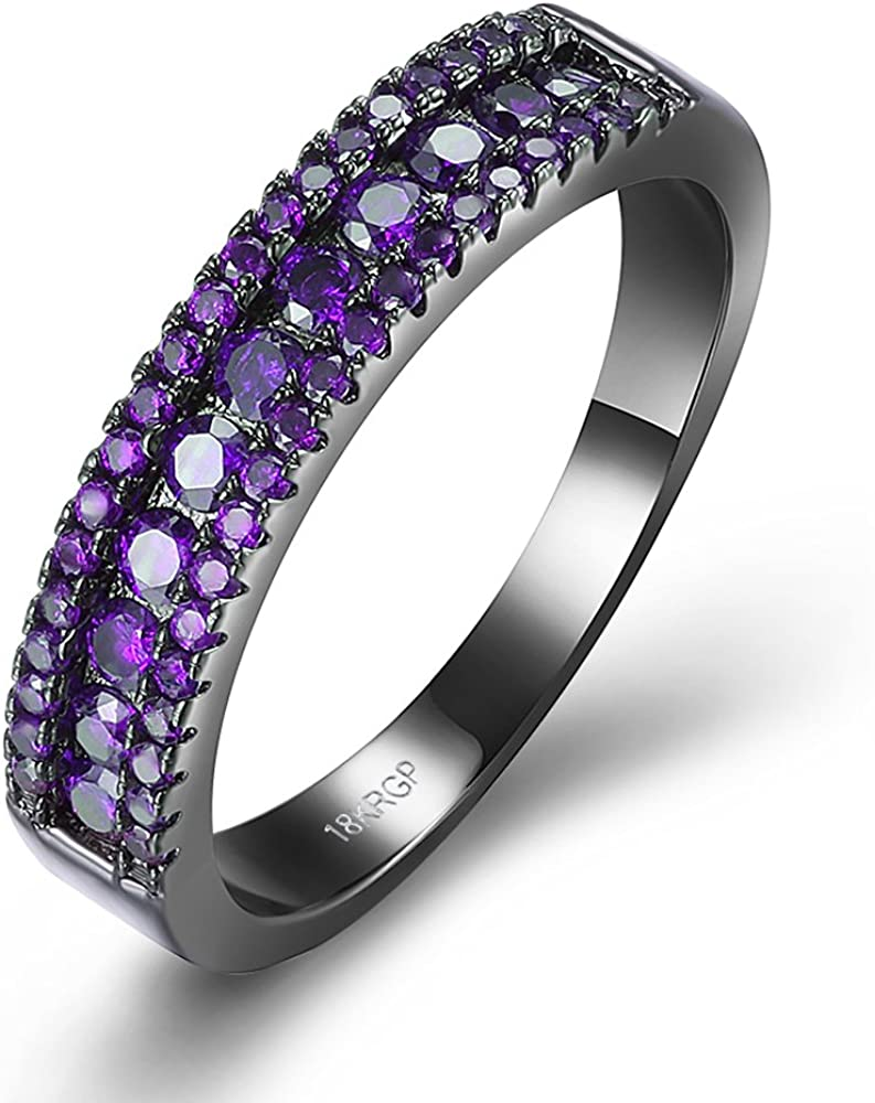 BEMI Chic Black 55% Max 50% OFF OFF Gold Pave Purple Promise Band Ring Zircon Party