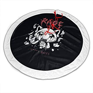 -Aggretsuko-Aggressive-Retsuko-Karaoke-Rage-Mood- Christmas Tree Skirt, 48 Inches Luxury Cable Knit Knitted Thick Rustic Xmas Holiday Decoration, Burgundy