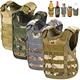 Accmor Beer Vest Tactical Holder, 4 Pack Mini Vest Tactical Coozy, Adjustable Molle Drink Holder Vest Beverage Cooler for 12oz 16oz Cans & Bottles, Cool Beverage Bottle Decoration
