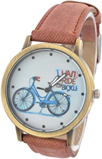 Souarts Canvas Bike Pattern Round Quartz Wrist Watch