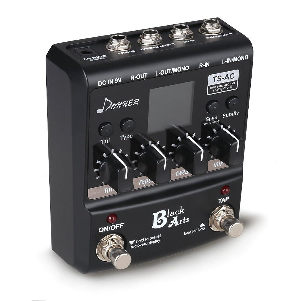 力強い火炎上げるDonner Black Arts Multi Digital Delay Guitar Pedals 11 Delay Effects