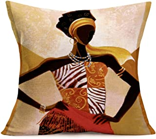 antvinoler African Women Beauty Throw Pillow Cases Tribe Lady Portrait Decorative Standard Cushion Cover Cotton Linen Home...