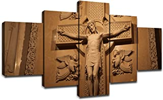 Canvas Wall Art Christ on The Cross Poster Picture Crucifixion of Jesus Art Framed Decorations for Living Room Painting Wall Decor for Dining Room Ready to Hang(50''Wx26''H)