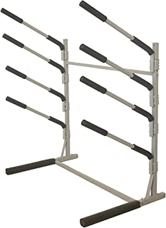 Sparehand Freestanding Rack Storage for 4 SUPs or Surfboards, Tools-Free Assembly, Pebble Silver Finish