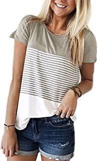 cunlin Women Casual Short Sleeve Stripe T-Shirt Color Block Shirts Blouse Tee Pullover Tunic Tops