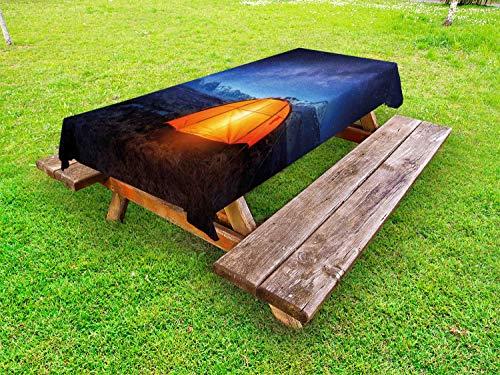 ABAKUHAUS Nacht Tafelkleed voor Buitengebruik, Camp Tent Holiday Journey, Decoratief Wasbaar Tafelkleed voor Picknicktafel, 58 x 104 cm, blauw Oranje