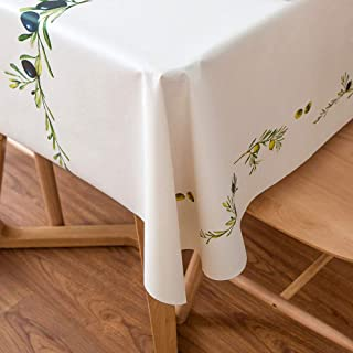 LEEVAN Heavy Weight Vinyl Rectangle Table Cover Wipe Clean PVC Tablecloth Oil-Proof/Waterproof Stain-Resistant