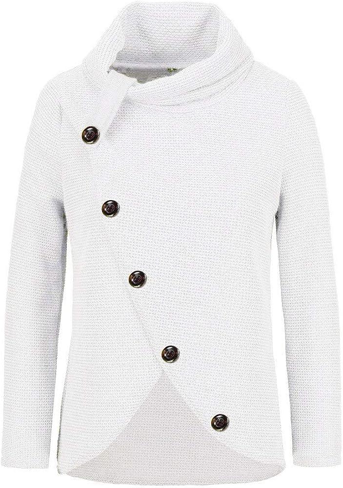 MORETIME Rollkragenpullover Damen Knöpfe,Warm Strickjacke Italienische Mode Pullover Hoher Kragen Strick Casual Rollkragen Strickpullover Weiß