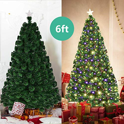 Goplus Artificial Christmas Tree Pre-Lit Optical Fiber Tree 8 Flash Modes W/UL Certified Warm White Electrodeless LED Lights & Metal Stand (6 FT)