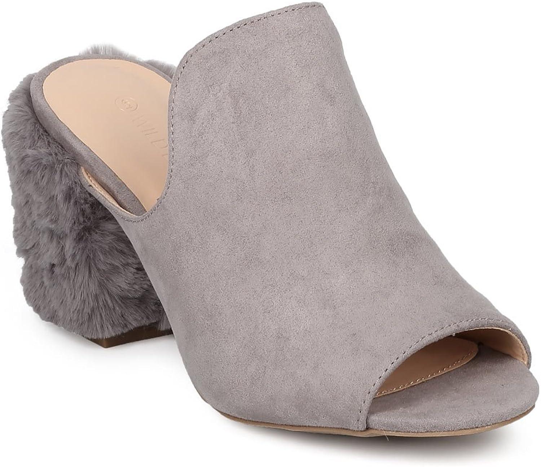 Vilda Diva Kvinnors Slip -on Peep Peep Peep -Toe Fur Block Heel Mul  100% passform garanti