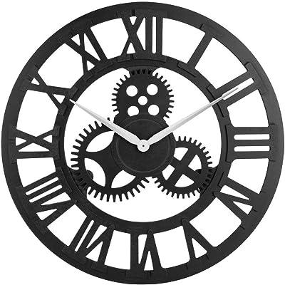OLDTOWN Clock 3D Retro Rustic Vintage Wooden 23-Inch Noiseless Gear Wall Clock, Roman-Black