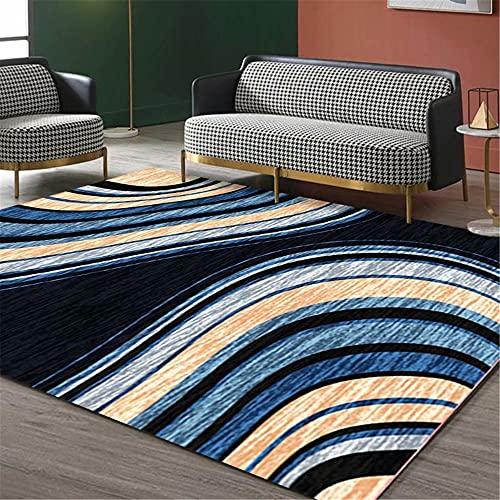 IRCATH Curva Abstracta geométrica Patrón de Color Durable Sala de Estar Sofá Mesa de café Salón Alfombra decorativa-40x60cm Resistente y Duradera Resistente a la presión sin decoloración