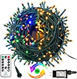 MZD8391 Color Changing Christmas String Lights Outdoor Indoor, 108FT 300 LED Warm White Multi Color Fairy Lights, END to END CONNECTABLE, Waterproof Christmas Tree Lights with Timer Remote