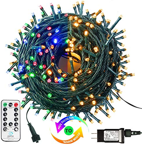 MZD8391 Color Changing Christmas String Lights Outdoor Indoor, 108FT 300 LEDs White Multi Color Fairy Lights, END to END CONNECTABLE, Waterproof Christmas Tree Lights with Timer Remote