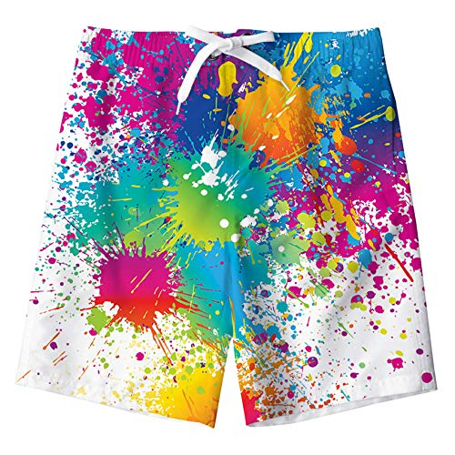Kids4ever Badeshort Jungen Personalisiert 3D Farbe Splatter Druck Trocknen Schnell Badehose Weiß Sommer Hawaiian Strand Swimming Shorts mit Netzfutter