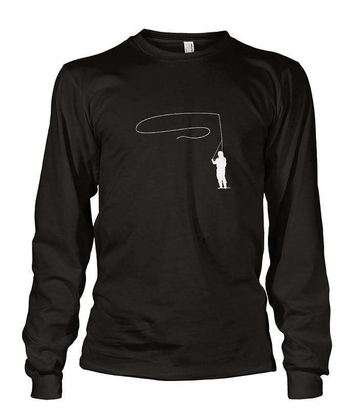 Fly Fishing Water Creatures Long Sleeve Cotton T-Shirt Tee Shirt Black XL
