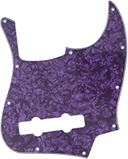 Musiclily Pro 10-Hole Contemporary J Bass Pickguard for Fender Jazz Bass Mexican 5-String, 4Ply Purple Pearl