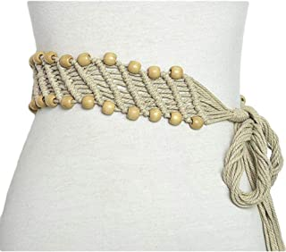 SGJFZD New Retro Pattern Handmade Wax Rope Braided Buckle Fashionable Decorative Belt National Wind Wooden Beads Waist Chain (Color : Beige, Size : 135-175CM)