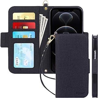 Skycase funda tipo cartera para iPhone 12/12 Pro 5G de 6,1 pulgadas, [bloqueo RFID] funda tipo folio con tapa, hecha a man...