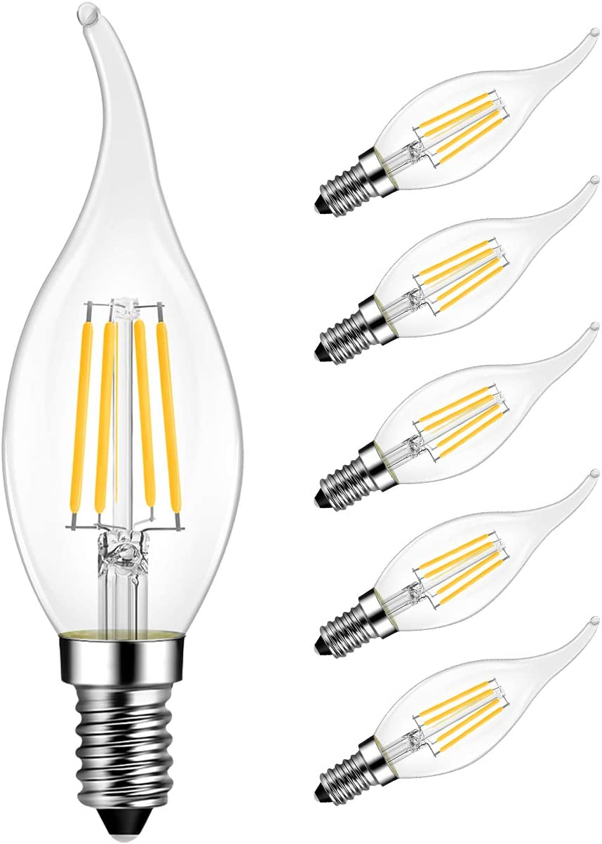 LVWIT Flame Tip LED Filament Bulb 4 2021 new Dimmable E12 Candelabra Max 66% OFF Base
