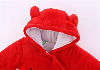 INLLADDY Neugeborene Baby Schneeanzug Kapuzen Fleece Strampler Flanell Fu/ß Jumpsuit Infant Onesies Winter Outwear Outfits Baby M/ädchen Jungen