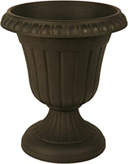 Arcadia Garden Products PL20BK Classic Traditional Plastic Urn Planter Indoor/Outdoor, 10 x 12 inches, Black