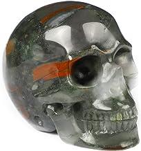 """سكاليز 2"""" جمجمة كريستال حجر الدم الأفريقي، نحت الأحجار الكريمة المنحوتة باليد ، تمثال ريكي شفاء ستون"""
