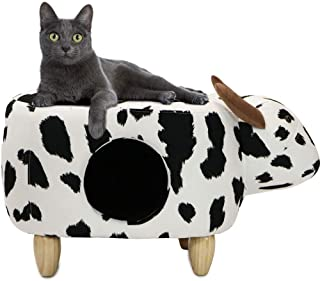 """Critter Sitters 16"""" Seat Height Animal (Black/White Cow) Shape Pet House Ottoman"""