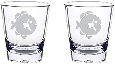 Alankathy Mugs shot glass set 1.5 oz (ROUND FISH)