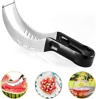 KIPIDA - Cortador de sandía, acero inoxidable, multifunción, acero inoxidable, cuchilla de fruta con forma de gancho para papaya Pitaya agua melón