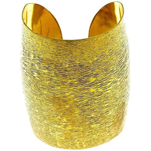 Chic-Net Messing Tribal Armreif golden schraffiert breit gewölbt 77 mm nickelfrei verstellbar antik Brass