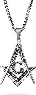 Bling Jewelry Nero ossidato Grande Massone Secret Society Square & Compass Masonic Simbolo Collana Pendente per Uomo Argen...