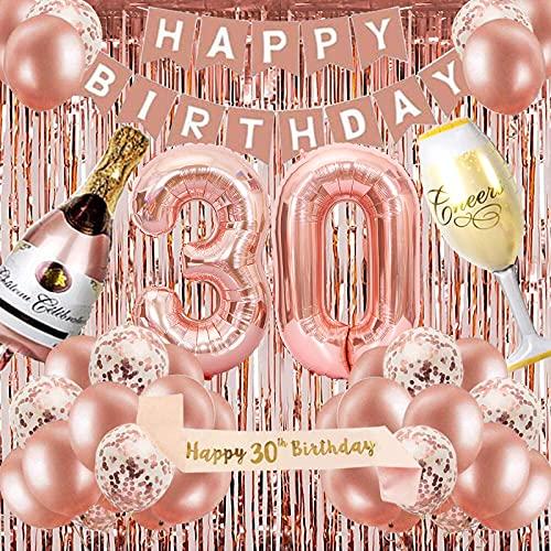 Decoración de fiesta de cumpleaños de oro rosa 30, pancarta de feliz cumpleaños, helio número 30 XXL, globos gigantes de champán y copa de vino, correa de hombro para cortina de flecos de