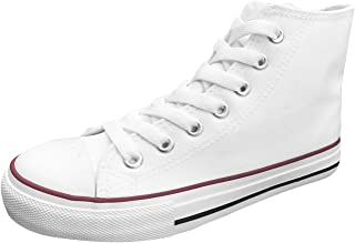 Official Women Blank High Top Rubber Sole Casual Canvas Sneaker Shoes