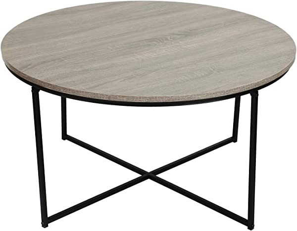 Adeco Round Coffee Table Wood Top And Sturdy Metal Frame X Base For Living Room 36x36x19 Inches