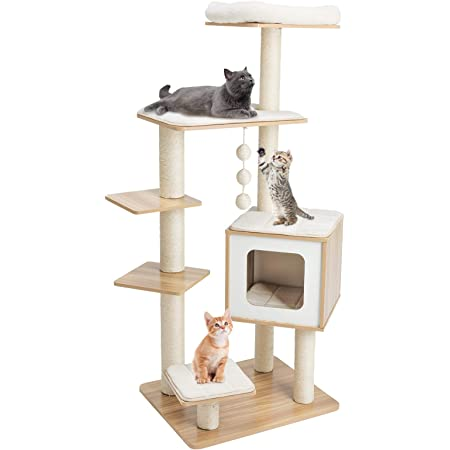 54.4'' Wood Cat Tree Tower, XL Modern Activity Center Pet Condo Furniture Castle 5-Level Play House Stand, W/Sisal Scratch Post, Washable Cushion, 3 Dangling Balls, Soft Perch for Kitten, Large Cats