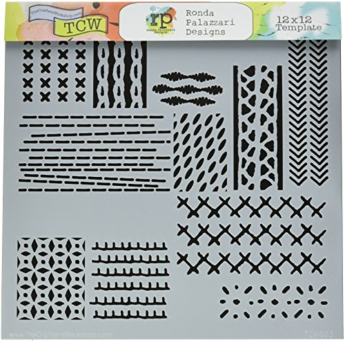 """CRAFTERS WORKSHOP TCW603 Template, 12"""" x 12"""", Stitched Art, White"""