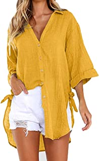 12dde4bef6fb TUDUZ Womens Loose Button Long Shirt Ladies Baggy Cotton Linens Half Sleeve  Bow Casual Blouse Tops