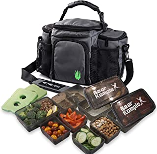 Bear KompleX Insulated Meal Prep Management Lunch Bag, 6 Compartment Lunch Box Cooler Tote with 3 Microwave Dishwasher Safe Portion Control Containers, Reusable Ice Pack, Free Recipe E-Book Included