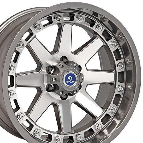 20x10 4Play Gambler Wheels Fit 6-Lug Ford Trucks and SUVs - Gunmetal w/Mach'd Face Rims - SET