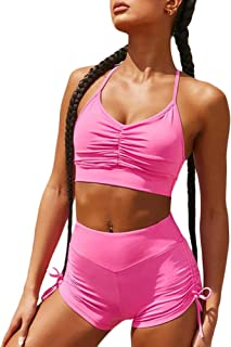 XFKLJ Sports Bra Yoga Pants Pink Women Gym Suits Yoga Sets Fitness 2pcs Sports Bras Seamless Shorts Sportwear Outfits Work...