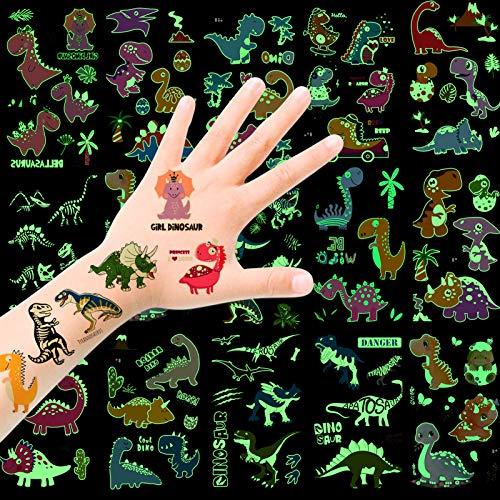 HOWAF Tattoo Kinder, Dinosaurier Temporäre Tattoos Set, im Dunkeln leuchten Dino Tattoos Kinder, Dinosaurier Kindertattoos Tattoos Aufkleber für Jungs Kinder Spielen Kindergeburtstag Mitgebsel