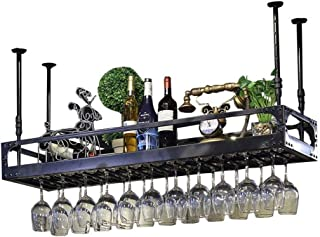 Armoire À Vin Organisation De Rangement pour La CuisineÉtagère De Rangement Noire Au Plafond Suspendu Étagère À Vin Suspe...