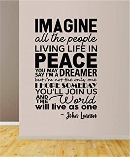 CECILIAPATER Imagine V2 Quote Wall Decal Sticker Room Art Vinyl Inspirational Decor House Family John Lennon Paul McCartney Music Lyrics